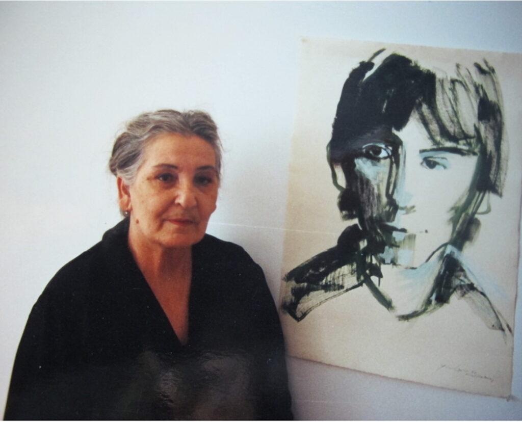 Eleonora bij het portret van Youri Egorov door Neel Korteweg