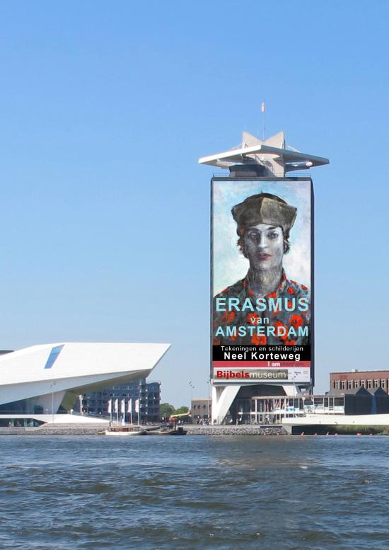 Erasmus digitaal op de Amsterdam toren