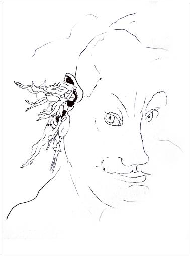 Neel Korteweg Tekeningen- Ik houd van Demonen 2018 en 2019, inkt en potlood op papier, 27 x 35 cm