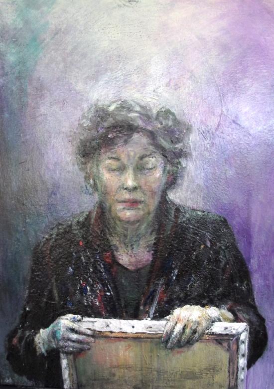 Neel Korteweg Zelfportret gedachtelicht 2 met schilderij