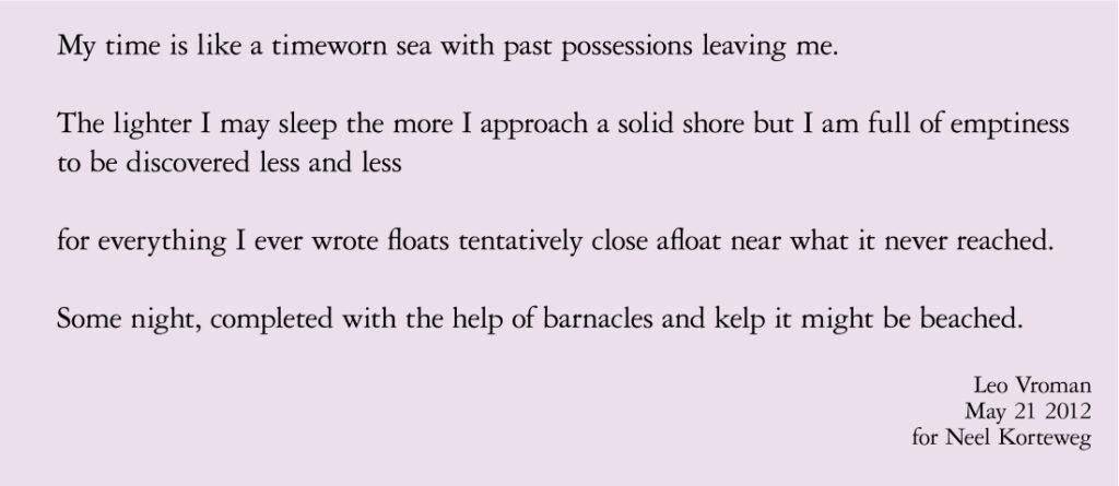 Voor Neel Korteweg gedicht Leo Vroman